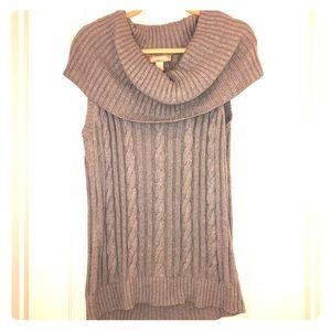 Sleeveless, Cowl Neck, Cable Knit Sweater